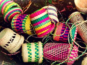 Cestini Colorati in Paja Toquilla