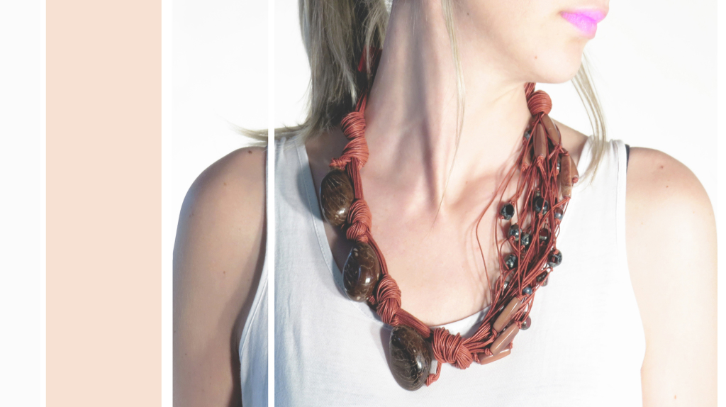 necklace flamingo red and tagua seed